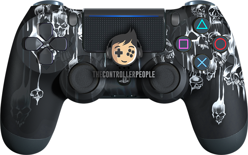 White Dripping Skulls PS4 Controller
