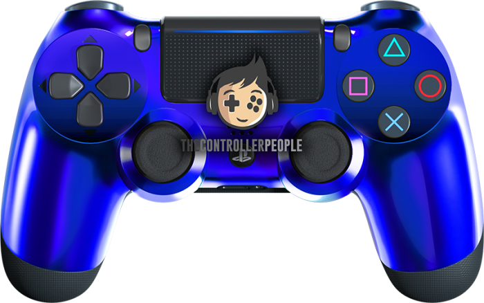 Chrome blue ps4 controller black back