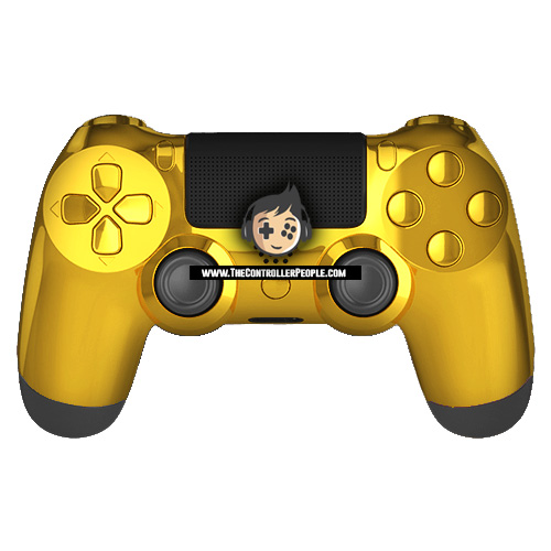 gold ps4 controller black back