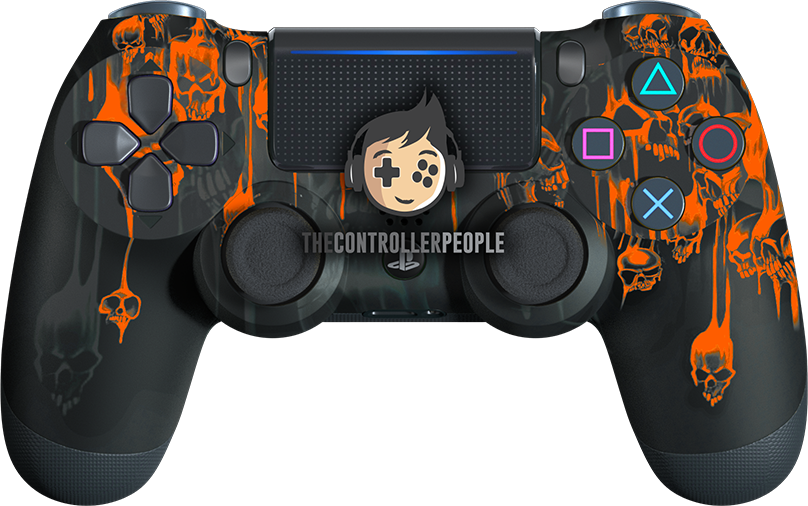 Orange Dripping Skulls PS4 Controller