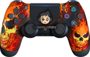 Flaming Skulls PS4 Controller